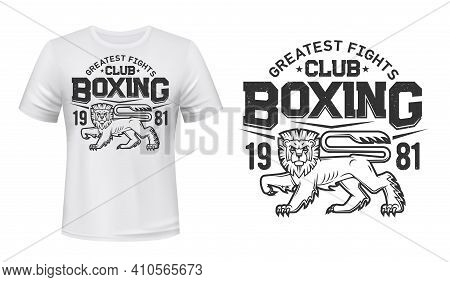 Lion T-shirt Print Mockup, Boxing Fight Club Team Vector Emblem. Angry Lion Or Wild Animal In Rage M