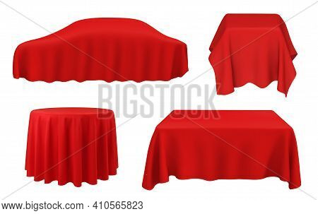 Car Under Red Silk, Vector Tablecloths On Square, Round And Rectangular Tables. Award Ceremony, New
