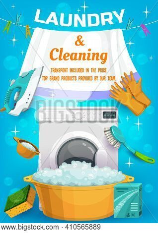 Laundry And Cleaning Service Ad With Vector Housework Tools Washing Machine, Wash Detergent And Basi