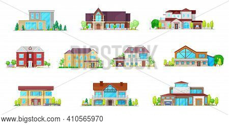 House Cottages, Bungalow And Villa Buildings Icons Set. Modern Suburbia Real Estate, Classic And Con