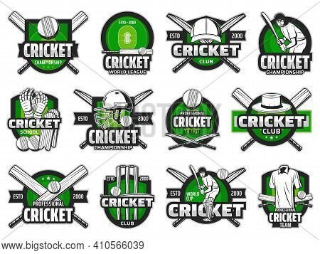 Cricket Sport Ball, Bat And Team Player Vector Icons. Cricket Field Game Isolated Badges Of Wickets,