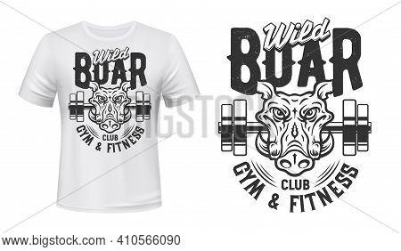 Boar Print T-shirt Mockup, Gym Fitness Sport Club, Vector Icon. Wild Boar Hog Or Warthog With Claws