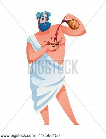 Dionysus. Ancient Greek God With A Jug Of Wine In One Hand And A Chalice In The Other. The Mythologi