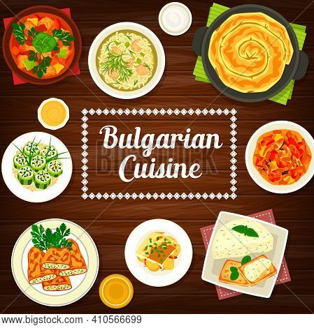 Vegetable And Meat Food Dishes Of Bulgarian Cuisine. Vector Bell Peppers And Cucumber Rolls With Bry