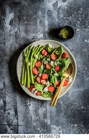 Strawberry, Spinach, Asparagus And Feta Salad With Pesto Dressing, Copy Space For Your Text