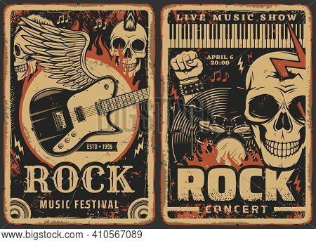 Rock Music Posters, Concert Or Band Fest And Live Music Show Festival, Vector. Hard Rock Music Conce