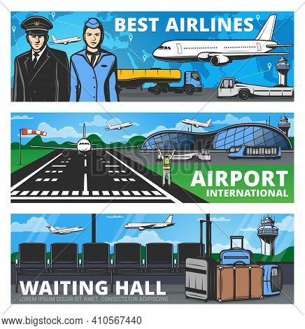 Aviation And Airport Services Vector Banners. Airplanes Aircrew Pilot And Stewardess, International