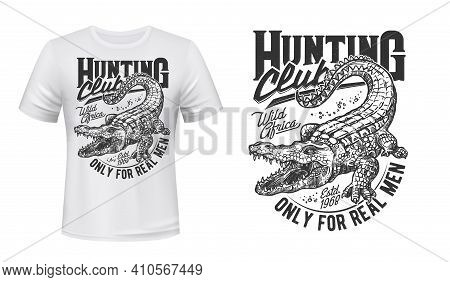 Crocodile Or Alligator T-shirt Vector Print. Nile Crocodile With Opened Toothy Maw, Angry Reptile En