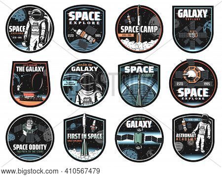 Galaxy, Space, Astronaut And Rocket Vector Icons With Glitch Effect. Cosmos Explore Shuttles Expedit