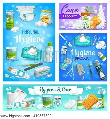 Personal Care, Hygiene And Body Health, Bathroom Items And Products, Vector. Personal Hygiene Soap,