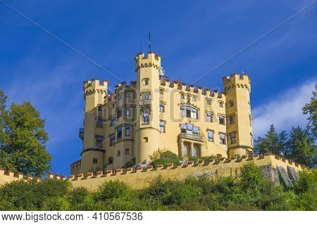 Famous Medieval German Castle, Land Of Knights, Dragons And Princesses, Hohenschwangau Castle