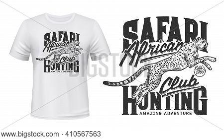 Cheetah Tshirt Print, Vector Mascot. Apparel Mockup With Jumping Guepard, White T Shirt Template Wit