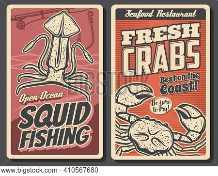 Fresh Crab Seafood, Squid Fishing Posters. Sea Crab And Ocean Cuttlefish, Rod With Reel And Fishhook