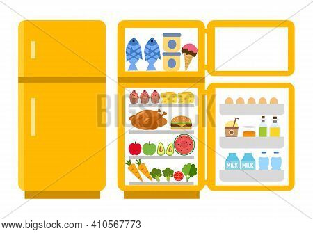 Fridge Open And Close Concept Vector Illustration On White Background. Refrigerator With Food Inside