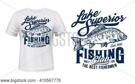 Fishing Club T-shirt Vector Print Mockup. Mirror Carp, Angling Catch Engraved Illustration And Retro