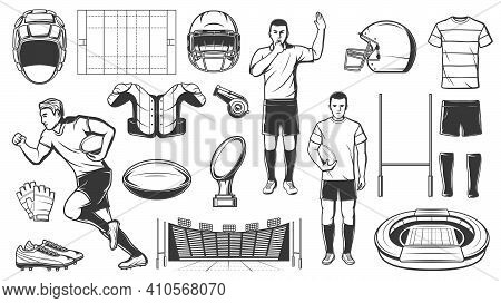 Rugby Sport Or Football American Game Icons Of Players And Equipment, Vector. American Football Rugb