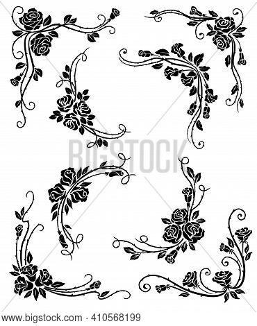 Floral Corners, Frame And Vignette Borders Vector Design With Black Rose Flowers, Leaves And Flouris