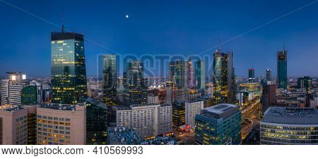 Amazing cityscape of Warsaw by night, capital of Poland.