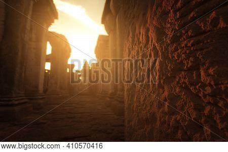 Sunlight Shine To Old Rough Brown Brick Of Phimai Historical Park. The Landmark Of Nakhon Ratchasima