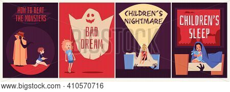 Set Banners Dedicated To Kids Nightmares And Fears, Flat Vector Illustration.