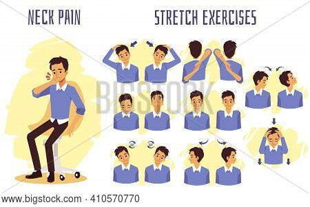 Stretch Exercises To Relieve Neck Pain, Flat Vector Illustration Isolated.