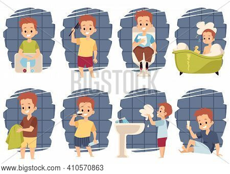 Hygiene In Bathroom For Boys, Kids Characters Clean Teeth, Washing And Bathing