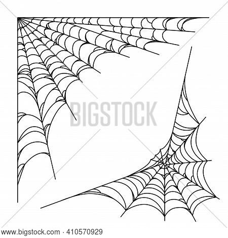 Spider Web Corners For Halloween Designs. Spiderweb Corners Isolated In White Background. Outline Ve