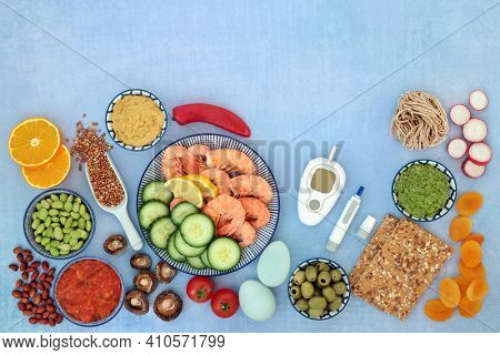 Health food for a low glycemic diabetic diet with blood sugar testing equipment an lancing device. High in omega 3, protein, antioxidants, fibre, minerals and vitamins. Foods below 55 on the GI index.