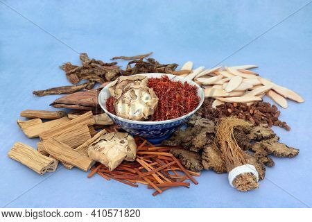 Traditional Chinese herbs and spice used in traditional herbal medicine in a bowl and loose on mottled blue background. Natural healthcare concept.