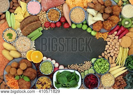 Vegan food for a healthy lifestyle with plant based foods high in antioxidants, protein, fibre, anthocyanins, vitamins, omega 3 and carotenoids. Heath foods to  lower cholesterol and blood pressure.