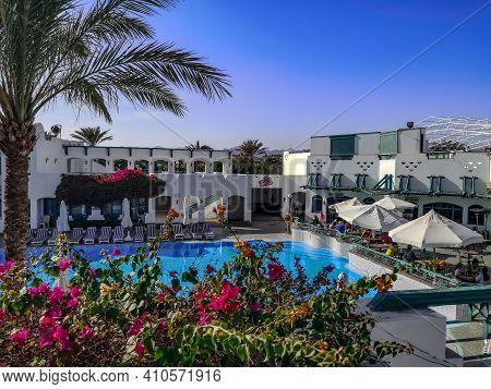 Sharm El Sheikh, Egypt - January 17, 2020: Patio With Pool At Falcon Hills Hotel In Sharm El Sheikh