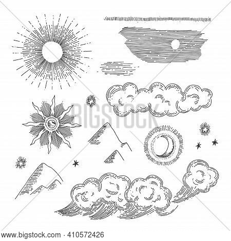 Nature Engraving Elements. Hand Drawn Antique Style Solar And Selestial Signs.