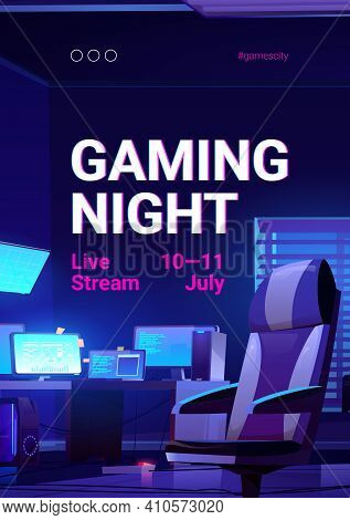 Gaming Night Poster, Video Game Live Stream. Vector Banner Of Online Multiplayer Tournament With Car