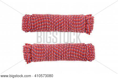 Object Elastic Bungee Red Cord Or Shock Cord On White Background Isolated And Clipping Path. Idea Ob
