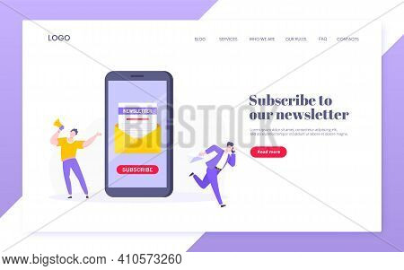 Subscribe Now To Our Newsletter Vector Illustration With Tiny People Working With Smartphone And New