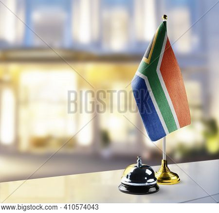 South Africa Flag On The Reception Desk In The Lobby Of The Hotel