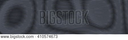 Dark Futuristic Vector Abstract Texture With Linear Rounded Shapes With Moire Effect. Monochrome Bac