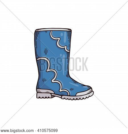 Gumboot Or Welly Boot For Rain, Cartoon Hand Drawn Vector Illustration Isolated.