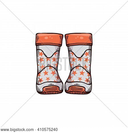 Gray Wellies With Stars Pattern For Wearing In Autumn Or Spring Rainy Season.
