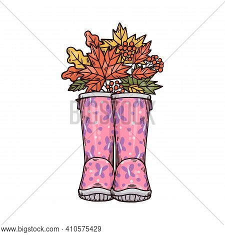 Rubber Welly Boots With Autumn Leaves Cartoon Vector Illustration Isolated.