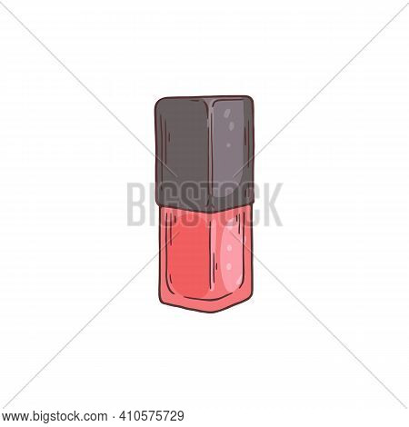 Hand Drawn Bottle Of Nail Enamel Or Polish Sketch Vector Illustration Isolated.