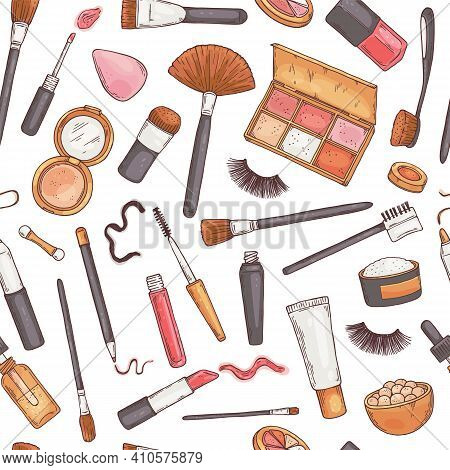 Fashion Glamour Makeup A Vector Hand Drawn Seamless Pattern.