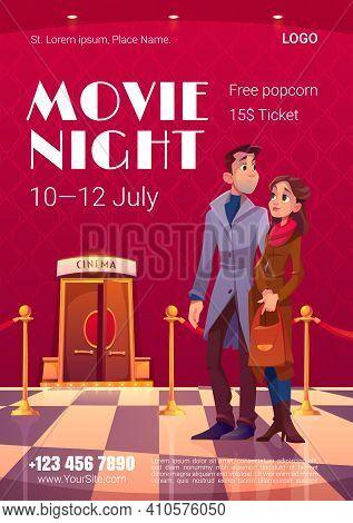 Movie Night Poster. Cinema Festival, Night Event In Movie Theater. Vector Flyer With Cartoon Illustr