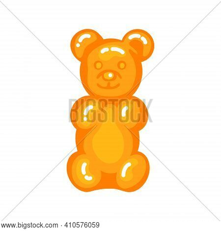 Orange Gummy Bear Jelly Sweet Candy With Amazing Flavor Flat Style Design Vector Illustration. Brigh