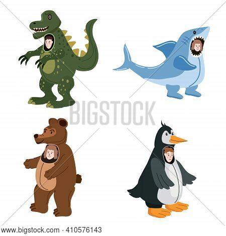 Set Actors In Animal Dinosaur, Shark, Bear, Penguin Costume. Theme Party, Birthday Kid, Children Ani