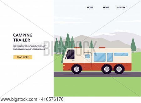 Web Banner With Camping Trailer Standing On Campsite Flat Vector Illustration.