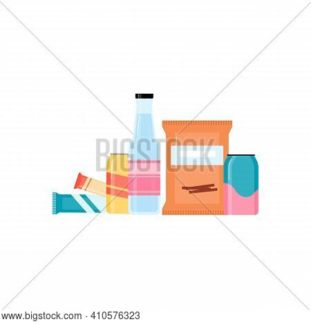 Snack Pack Set Of Fast Food And Beverages For Retail Vending Machine.
