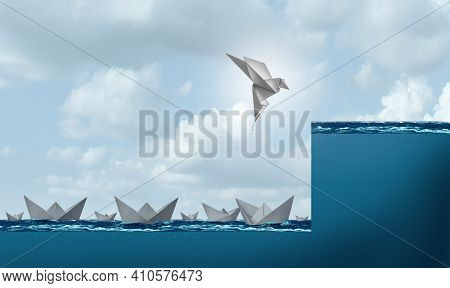 Change And Success As A Business Leadership And Leader Concept As A Paper Boat Rising As A Bird In F