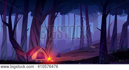 Summer Camp With Bonfire And Tent At Night. Vector Cartoon Landscape With Campsite, Fire And Backpac