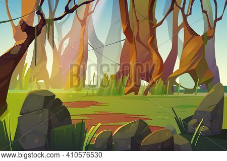 Spring Forest Glade With Green Grass. Scene Of Jungle, Garden Or Natural Park In Daylight. Vector Ca